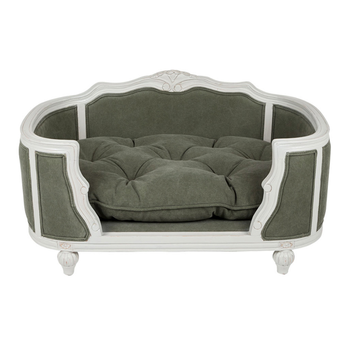 ARTHUR UPHOLSTERED BED - STONEWASHED ARMY GREEN Swish London