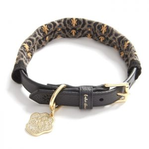 luxury, designer Boho Chien black dog collar