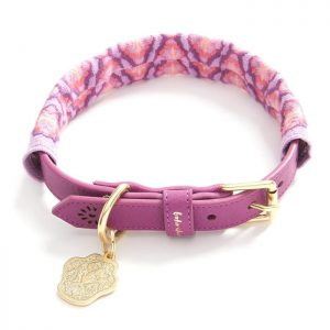 luxury, designer Boho Chien pink dog collar