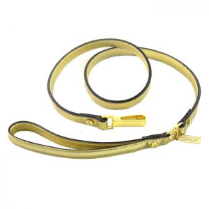 luxury designer Frida Firenze dog lead gold