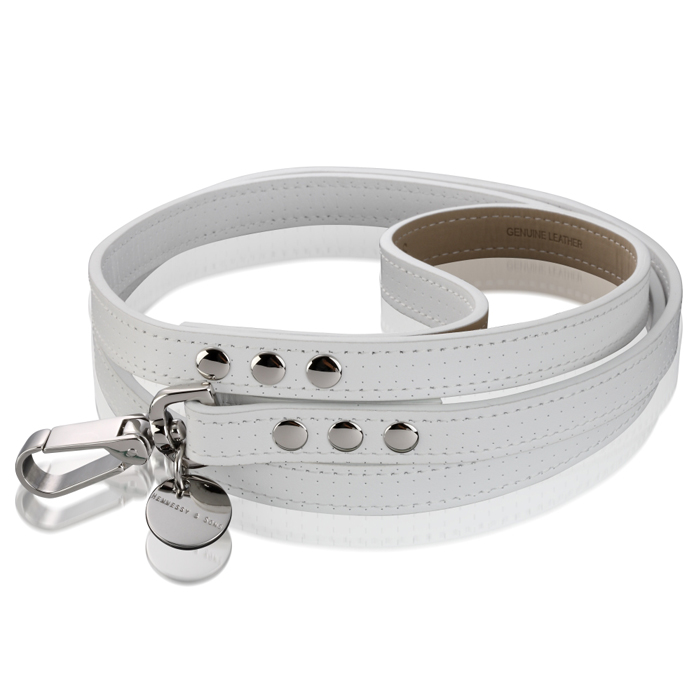 ROYAL SADDLE LEATHER LEAD - WHITE Swish London