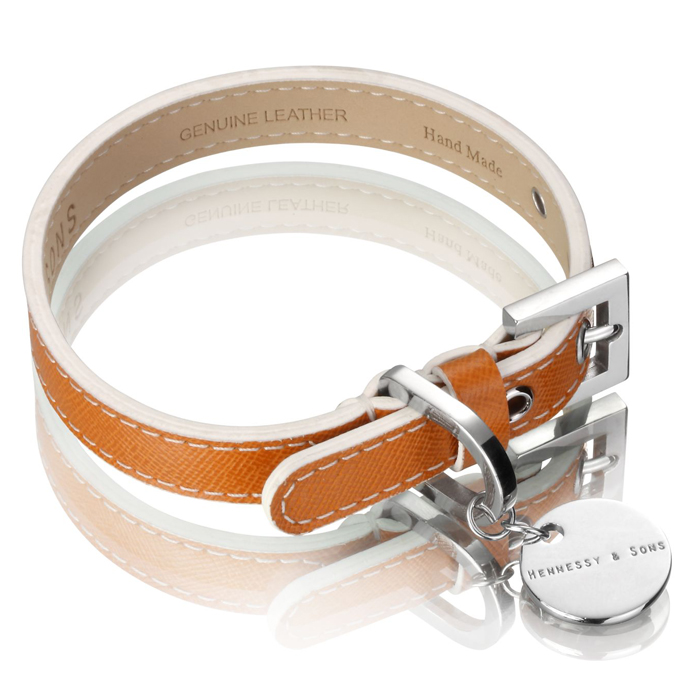 SAFFIANO LEATHER COLLAR - TAN Swish London