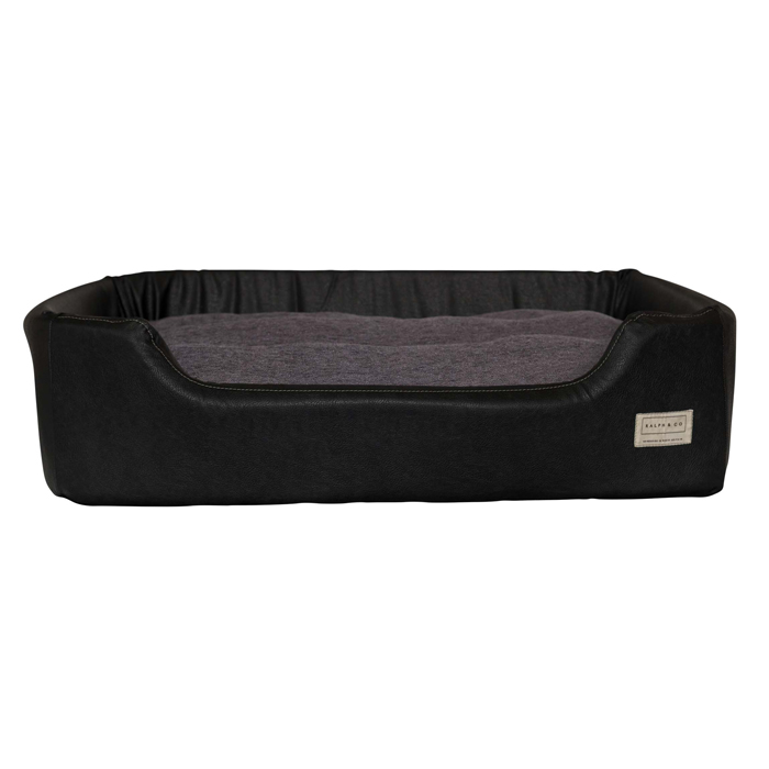 FAUX LEATHER NEST BED CODIE - BLACK & GUN METAL GREY Swish London