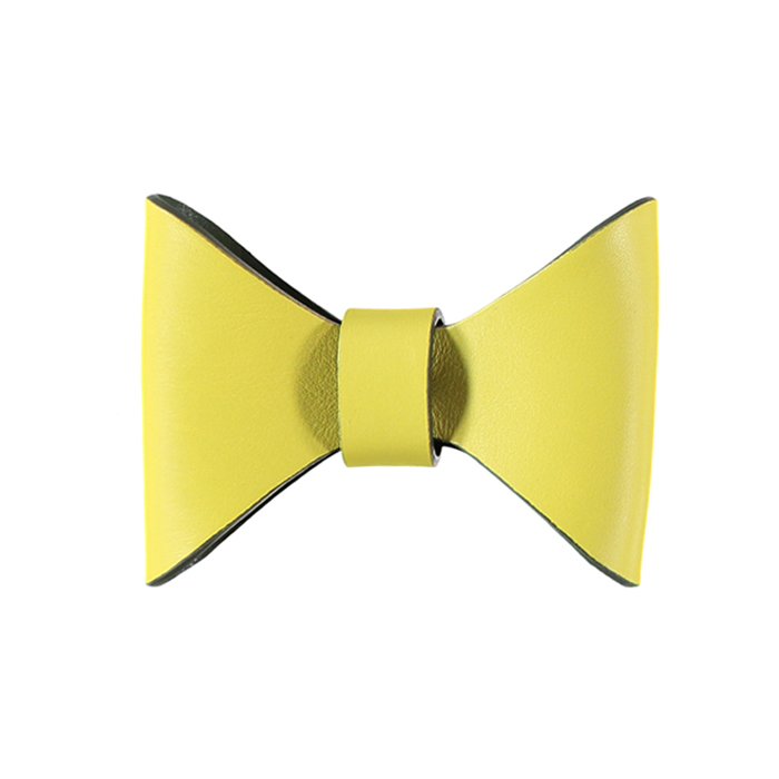 RICHMOND LEATHER BOW TIE - CANARY/BIRCH Swish London