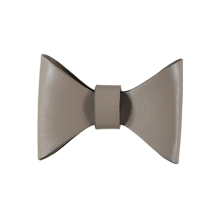 RICHMOND LEATHER BOW TIE - EARTH/TRUFFLE Swish London