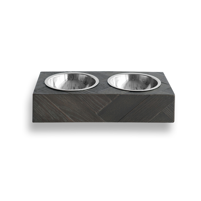 MODENA HERRINGBONE PET FEEDER - BLACK Swish London